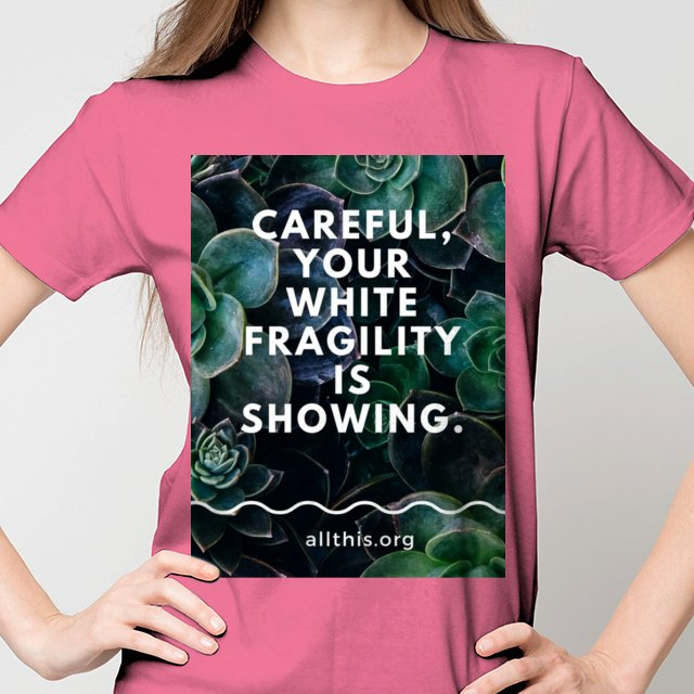 You heard the podcast, now tell your friends with this spirited tee. Remember when see something, say something.