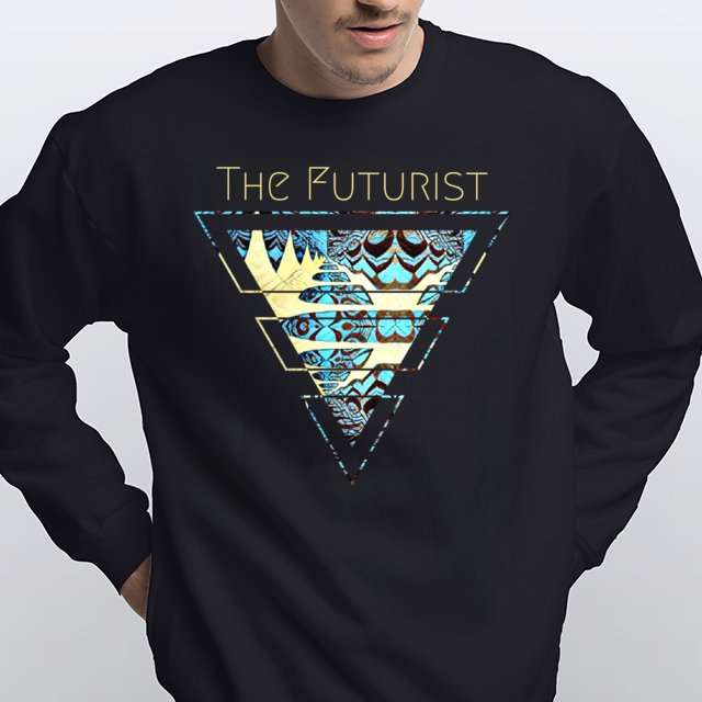 The Futurist black sweatshirt with fractal pattern in a triangle, turquoise blue and light yellow.