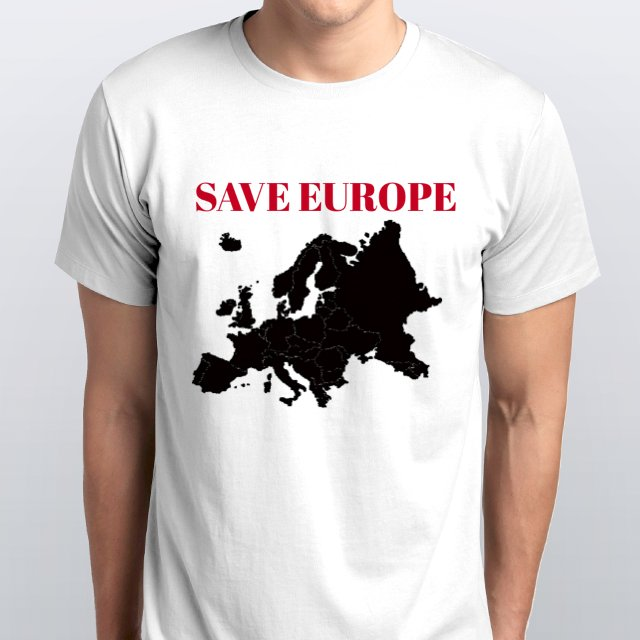 SAVE EUROPE Black Map Red Lettering